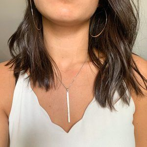 Silver Necklace with Long Metal Piece